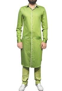 green-shirt-kurta-with-white-piping