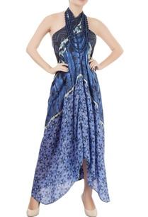 blue-printed-halter-neck-dress