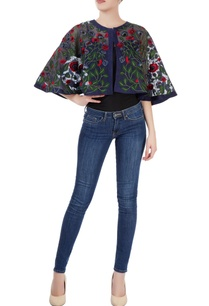 navy-blue-embroidered-cape