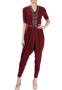maroon-draped-jumpsuit-with-beadwork