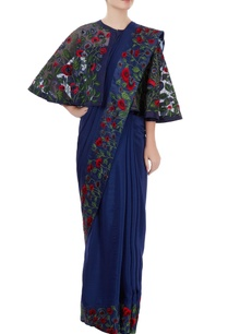 blue-sari-with-colorful-embroidery