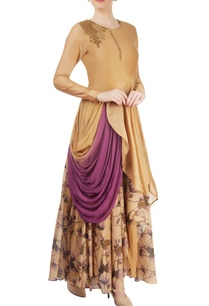 beige-layered-draped-kurta-set