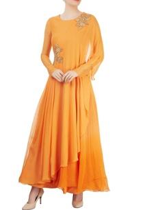 orange-asymmetrical-layered-kurta