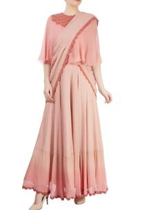pink-draped-lehenga-sari-with-cape-blouse