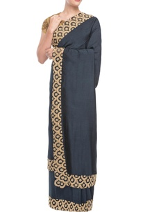 navy-blue-sari-with-ochre-embroidered-blouse