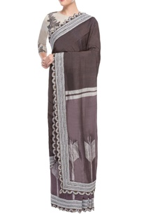 chocolate-brown-grey-sari-with-embroidery