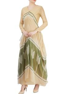 beige-asymmetrical-draped-kurta