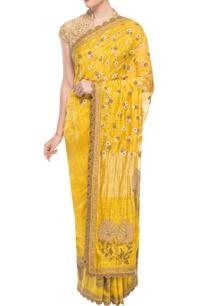 yellow-beige-embroidered-sari
