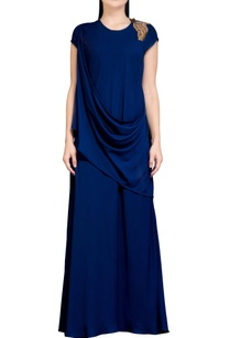 navy-blue-dress-with-cowl-drape
