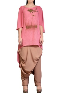 dusky-coral-pink-tunic-with-dhoti-pants