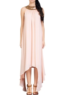 light-peach-asymmetrical-dress
