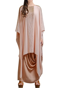 peach-asymmetrical-cowl-dress