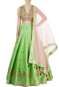 green-rose-pink-embroidered-lehenga-set