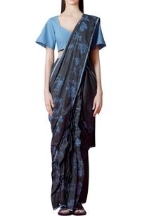 charcoal-grey-sari-with-floral-print