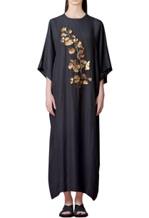 charcoal-grey-dress-with-gold-applique