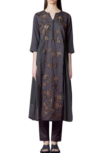 charcoal-grey-paneled-kurta-set