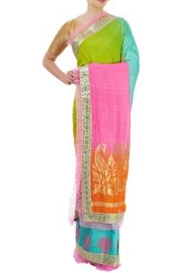 multi-colored-sari-with-border-detailing