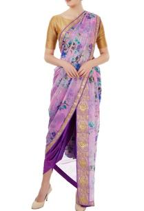 mauve-floral-printed-dhoti-sari