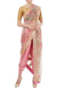 pink-shimmer-floral-printed-dhoti-sari