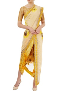 beige-dhoti-sari-with-sunflower-motif