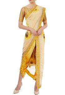 beige-dhoti-sari-with-sunflower-motif