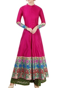 pink-green-embroidered-kurta-lehenga