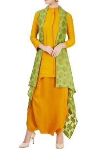 mustard-yellow-kurta-set-with-green-jacket