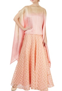 pink-gold-checkered-skirt-set