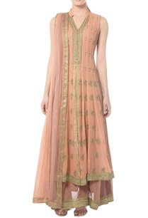 light-peach-layered-anarkali-set