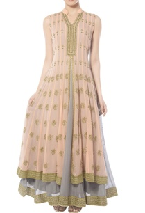 peach-grey-layered-anarkali-set