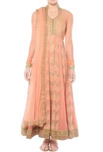 salmon-pink-anarkali-set