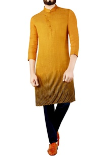 mustard-yellow-printed-kurta-completed-with-a-collar
