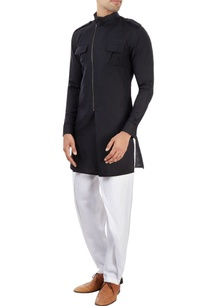 black-kurta-with-a-zipper