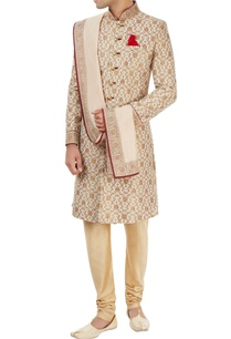 off-white-beige-sherwani-set-with-floral-pattern