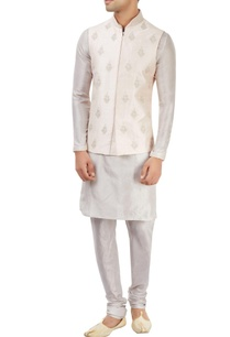 light-grey-kurta-set-with-embroidered-nehru-jacket