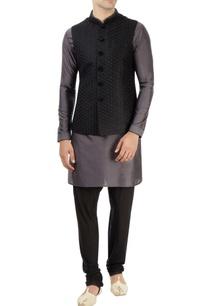 black-grey-kurta-set-with-embroidered-nehru-jacket