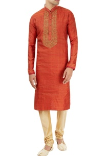 rust-orange-kurta-with-embroidery