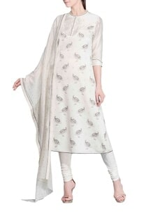 ivory-peacock-printed-kurta-set