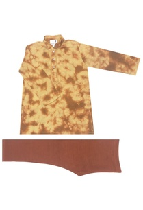 brown-khaki-tie-dyed-kurta-churidar