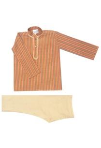 brown-olive-striped-kurta-set