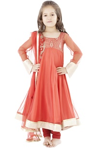 orange-anarkali-set