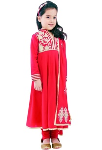 red-anarkali-set