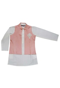 white-kurta-with-coral-jacket
