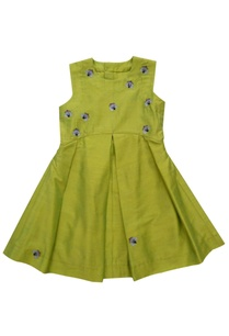 lime-green-embroidered-pleated-dress