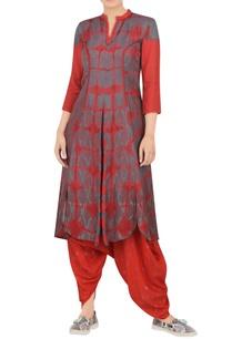 coral-grey-printed-kurta-in-cotton-silk-fabric