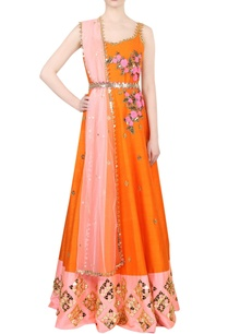 orange-peach-embroidered-kurta-set