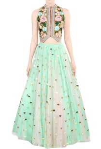 bottle-green-embroidered-bridal-lehenga-set