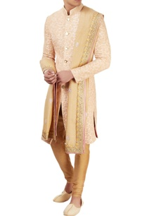 beige-embroidered-sherwani