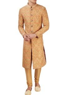 orange-embroidered-sherwani