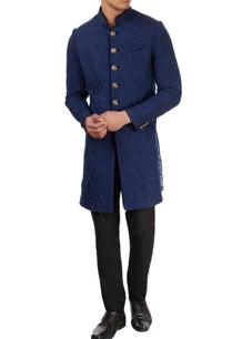 blue-sherwani-with-floral-pattern